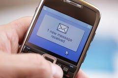 Het mobiele bericht van de telefoontekst of e-mail Royalty-vrije Stock Foto's