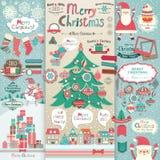 Het plakboekelementen van Kerstmis. Stock Foto's