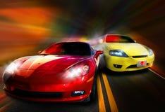 Het rennen van auto's Royalty-vrije Stock Afbeeldingen