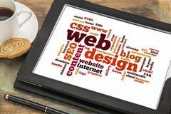 Het woord van het Webontwerp of markeringswolk Stock Foto