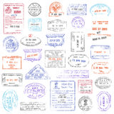 High Quality grunge Passport Stamp collection Royalty Free Stock Images