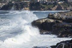 High Tide Coastal Waves Hitting the La Jolla California Shore Royalty Free Stock Photo