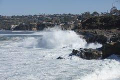 High Tide Coastal Waves Hitting the La Jolla California Shore Royalty Free Stock Image