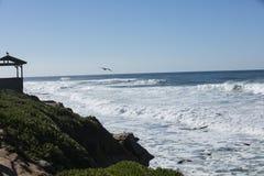 High Tide Coastal Waves Hitting the La Jolla California Shore Stock Photos