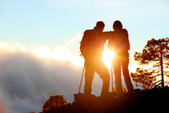 Hiking adventure healthy outdoors people standing Stock Photo