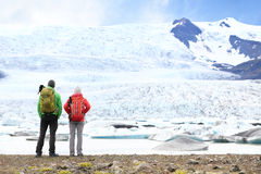 Hiking adventure travel people on Iceland Royalty Free Stock Photography
