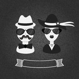 Hipster couple in black and white on gray textured gradient background Royalty Free Stock Images