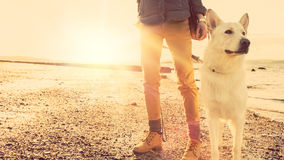 Hipster girl playing with dog at a beach during sunset, strong lens flare effect Stock Photo