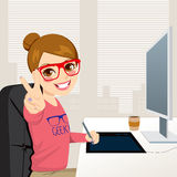 Hipster Graphic Designer Woman Working Stock Photo