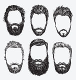 Hipster hair and beards, fashion vector illustration set. Royalty Free Stock Image