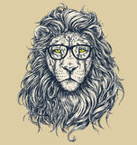 Hipster lion vector illustration. Glasses separated. Royalty Free Stock Photo