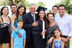 Hispanic Student And Family Celebrating Graduation Stock Photography