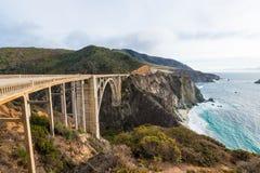 The Historic Bixby Bridge.  Pacific Coast Highway California Stock Photo