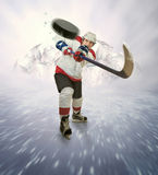 Hockey player gives powerful pass Stock Image