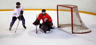Hockey player scores Stock Images