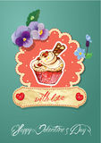 Holiday card with decorated sweet cupcake Royalty Free Stock Photography