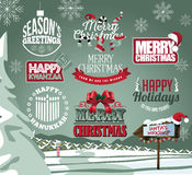 Holiday collection of labels, emblems and type treatments Stock Photos