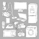 Home appliances and electronics icons Stock Photos