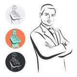 Homme d'affaires, bras croisés, illustration de vecteur Image libre de droits