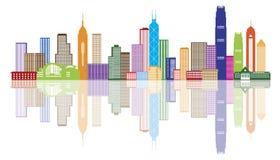 Hong Kong City Skyline Color Panorama Vector Illustration Royalty Free Stock Photo