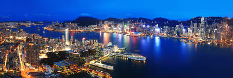 Hong Kong-nachtmening Royalty-vrije Stock Afbeelding