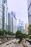 Hong- Kongmittebereich, -straße und -gebäude Stockbilder