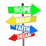 Hope Belief Faith Dream Arrow Road Signs Future Royalty Free Stock Photography