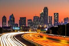 Horizon de Dallas au lever de soleil Photo libre de droits