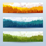 Horizontal abstract banners of hills of coniferous wood with mountain goats in different tone. Royalty Free Stock Image