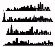 Horizonte de Nueva York, horizonte de Chicago, horizonte de Miami, horizonte de Detroit Fotografía de archivo libre de regalías