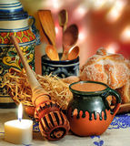 Hot chocolate and sweet bread pan de muerto Royalty Free Stock Images