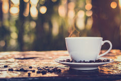 Hot coffee in the cup on old wood table with blur dark green nature background Royalty Free Stock Photo