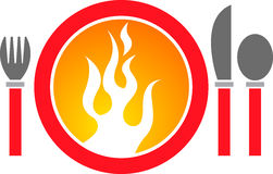 Hot dinner logo Royalty Free Stock Photography