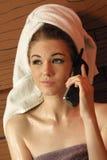 Hot phone conversation Royalty Free Stock Image