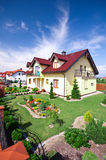 House with landscaped yard Royalty Free Stock Photos