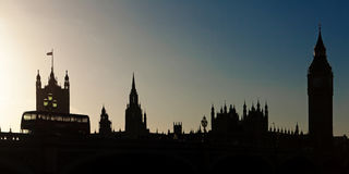 Houses of Parliament Skyline in Silhouette Royalty Free Stock Photos