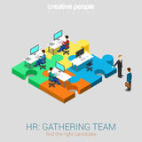 HR gathering team solution flat 3d web isometric concept Stock Image