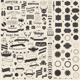 Huge set of vintage styled design hipster icons. Vector signs and symbols templates for your design. Stock Photos