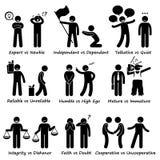 Human Opposite Behaviour Positive vs Negative Character Traits Stick Figure Pictogram Icons Royalty Free Stock Photos