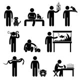 Human and Pets Pictogram Royalty Free Stock Photos