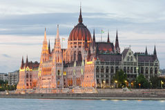Hungarian parliament at nightfall Stock Photo