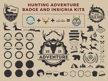 Hunting and adventure badge logo element kits Royalty Free Stock Photos