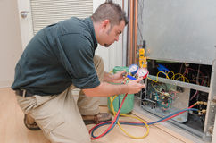 HVAC Technician Working Royalty Free Stock Images