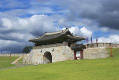 Hwaseong fortress ( (Brilliant Fortress) exterior in Suwon, South Korea. Royalty Free Stock Images