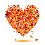 I love autumn! Heart shape from falling leaves Royalty Free Stock Image