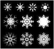 Icône de silhouette de flocon de neige, symbole, conception Hiver, illustration de vecteur de Noël Photos stock