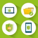 Icônes de graphique d'intimité et de système de sécurité Images stock