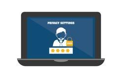 Icônes de graphique d'intimité et de système de sécurité Photos stock