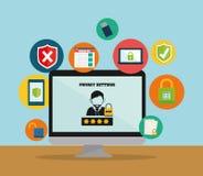 Icônes de graphique d'intimité et de système de sécurité Photographie stock