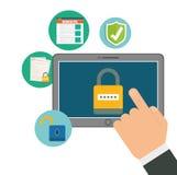 Icônes de graphique d'intimité et de système de sécurité Photo stock